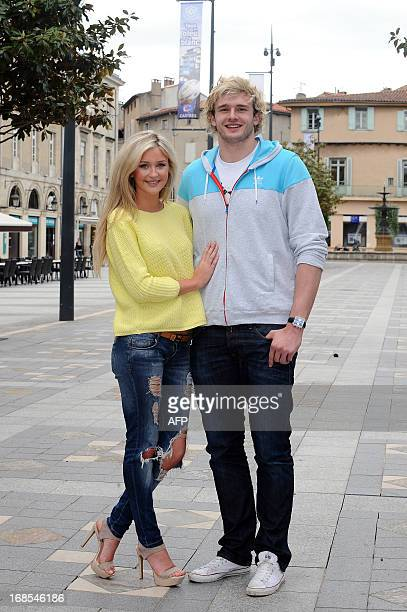 Scottish rugby player Richie Gray poses with his girlfriend in Castres southern France on May 2 2013 After one season playing for the Sale Sharks...