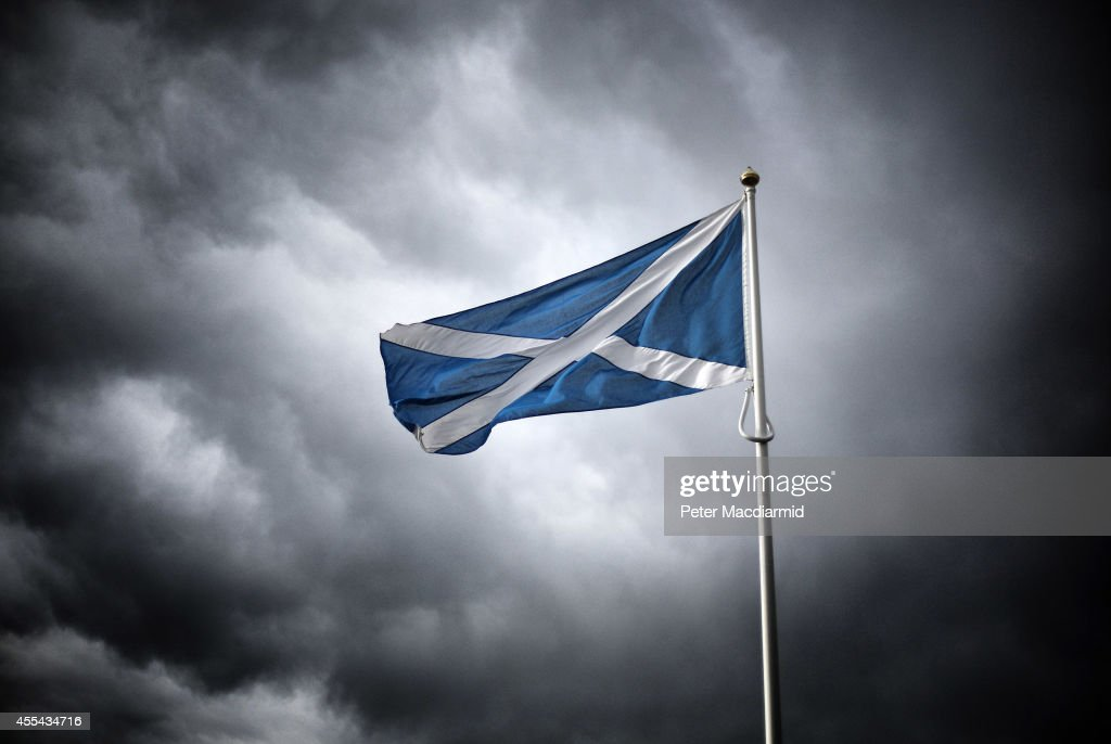 A Scottish Saltire flag flies on the border with England on September 14, 2014 in Carter Bar, Scotland. The latest polls in Scotland's independence referendum put the No campaign back in the lead, the first time they have gained ground on the Yes campaign since the start of August.
