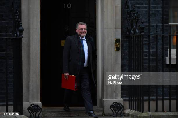 Scottish Secretary David Mundell leaves 10 Downing Street after attending the first Cabinet meeting of the year London on January 9 2018 Prime...