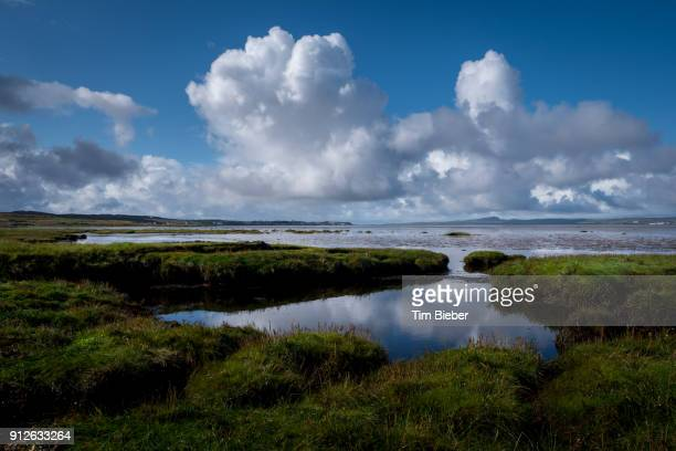 a scottish shore line and tile pools under fluffy white clouds and blue skies - sumpf stock-fotos und bilder