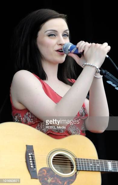 Scottish singer Amy Macdonald performs on stage at the Rock in Rio Madrid music festival on June 6 2010 in Arganda del Rey Spain