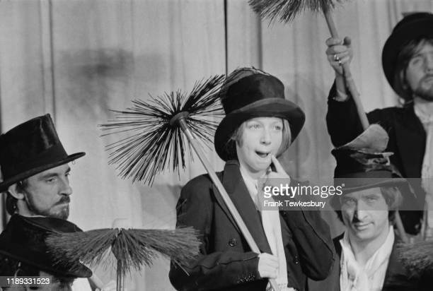 Scottish singer and a television show host Lena Zavaroni rehearsing on stage before the Royal Variety Performance at the Palladium, London, UK, 14th...