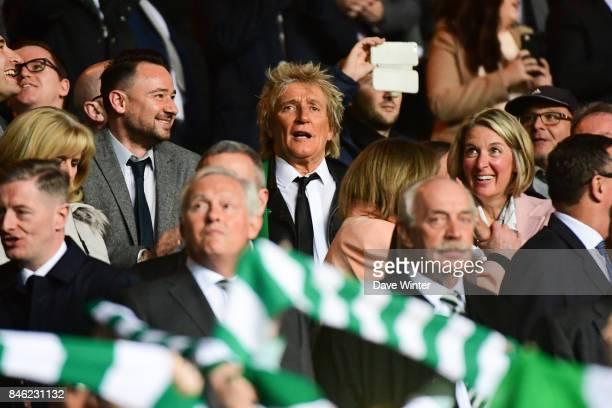 Scottish singer and Celtic fan Rod Stewart during the Uefa Champions League match between Glasgow Celtic and Paris Saint Germain at Celtic Park...
