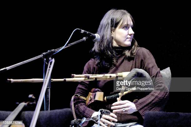 Scottish singer and musician Annie Grace performs live on stage playing the pipes at the Queen Elizabeth Hall in London on 9th February 2004