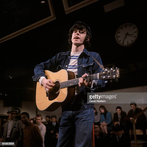 GO Photo of DONOVAN performing on tv show playing Martin acoustic guitar at Kingsway studios