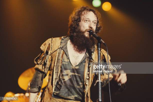 Scottish singer and musician Ian Anderson of rock group Jethro Tull performs on stage at Wembley Arena in London on 13th May 1982