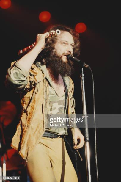 Scottish singer and musician Ian Anderson of rock group Jethro Tull performs on stage at Wembley Arena London UK 13th May 1982