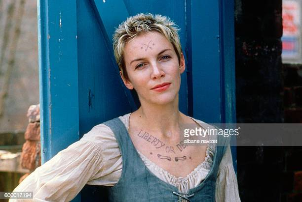 Scottish singer and songwriter Annie Lennox on the set of Revolution directed by Hugh Hudson