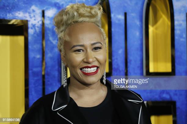 Scottish singer and songwriter Emili Sande poses on arrival for the European Premiere of 'Black Panther' in central London on February 8 2018 / AFP...