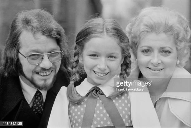 Scottish singer and television show host Lena Zavaroni with her father Victor Zavaroni and mother Hilda Zavaroni, UK, 20th February 1975.
