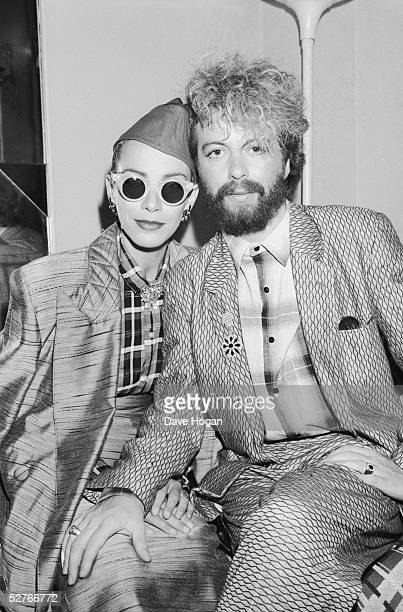 Scottish singer Annie Lennox and English musician Dave Stewart of the Eurythmics October 1984