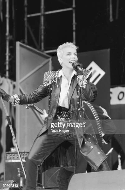 Scottish singer Annie Lennox of the Eurythmics performing at the 70th birthday tribute concert for imprisoned South African leader Nelson Mandela...