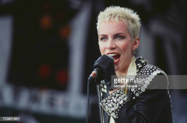 Scottish singer Annie Lennox performing with Eurythmics at the Mandela concert Wembley Stadium London 11th June 1988