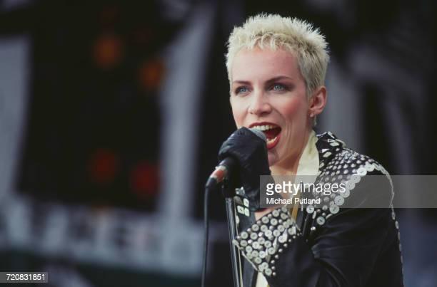Scottish singer Annie Lennox performing with Eurythmics at the Mandela concert Wembley Stadium London 11th June 1988