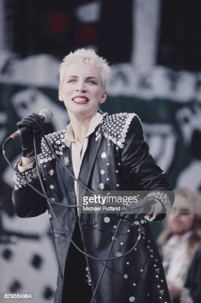 Scottish singer Annie Lennox performing with music duo Eurythmics at the Mandela concert Wembley Stadium London 11th June 1988