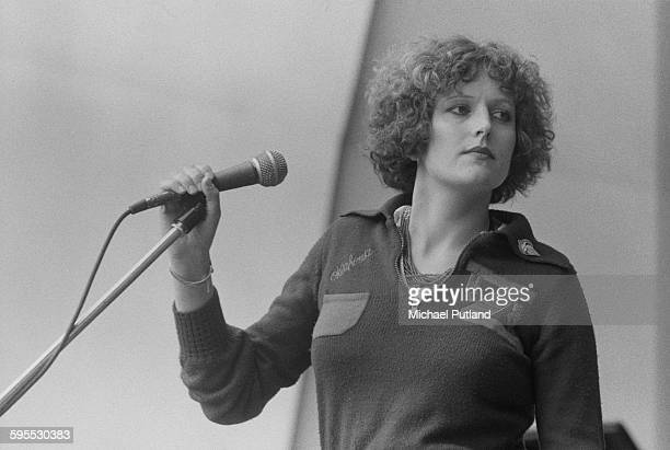 Scottish singer Barbara Dickson performing at the Garden Party IX festival at Crystal Palace Bowl London 31st July 1976