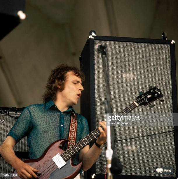 Scottish singer, bass guitarist and musician Jack Bruce performs live on stage playing a Gibson EB0 bass guitar with Tony Williams and Lifetime at...