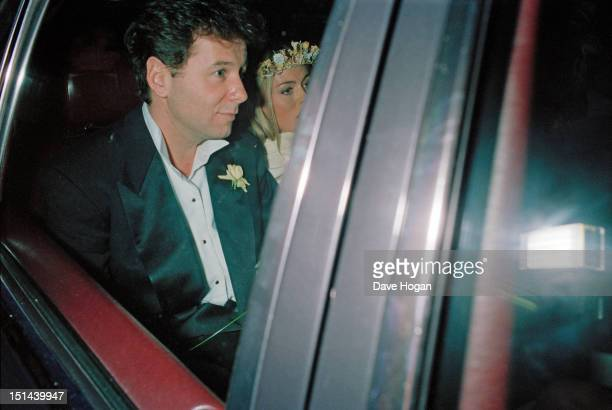 Scottish singer Jim Kerr of rock group Simple Minds and English actress Patsy Kensit leave Chelsea Register Office London after their wedding 3rd...