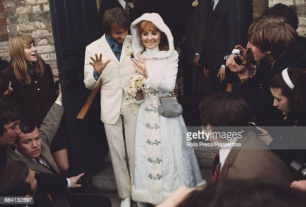 Scottish singer Lulu and Maurice Gibb of the Bee Gees pictured together after their wedding ceremony at St James's Church in Gerrards Cross...