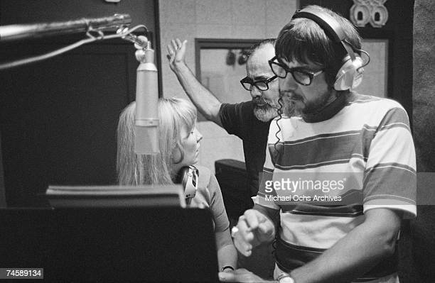Scottish singer, Lulu, music producer Jerry Wexler and producer/engineer Tom Dowd at Muscle Shoals Sound Studios on September 3, 1969 in Muscle...