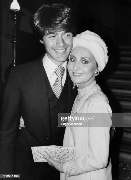 Scottish singer Lulu with hairstylist John Frieda after their wedding at Hampstead Register Office in London 8th October 1976