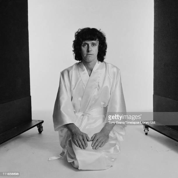 Scottish singer songwriter and guitarist Donovan Leitch wearing a kimono 1973