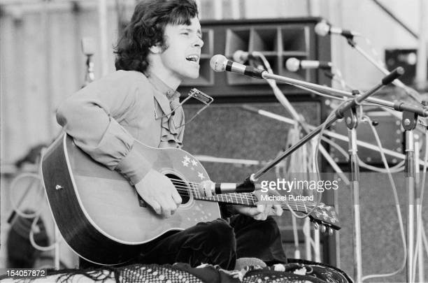 Scottish singer songwriter and guitarist Donovan performing at the Bickershaw Festival in Greater Manchester May 1972
