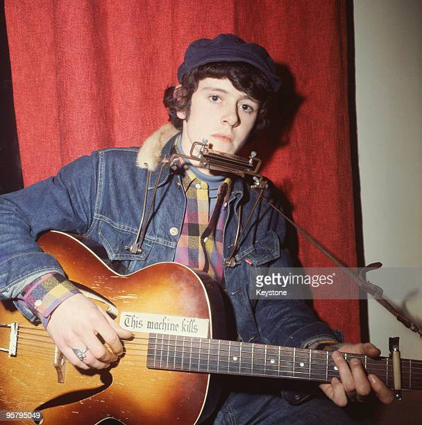 Scottish singer songwriter and musician Donovan prepares for a television appearance on the pop programme 'Ready Steady Go' 21st January 1965 His...
