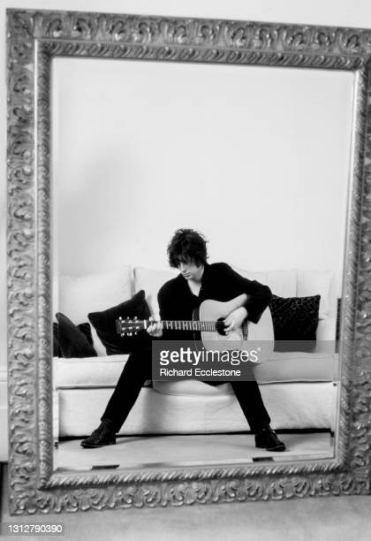 Scottish singer, songwriter and musician Mike Scott of The Waterboys, portrait, at his home in London, 1997.
