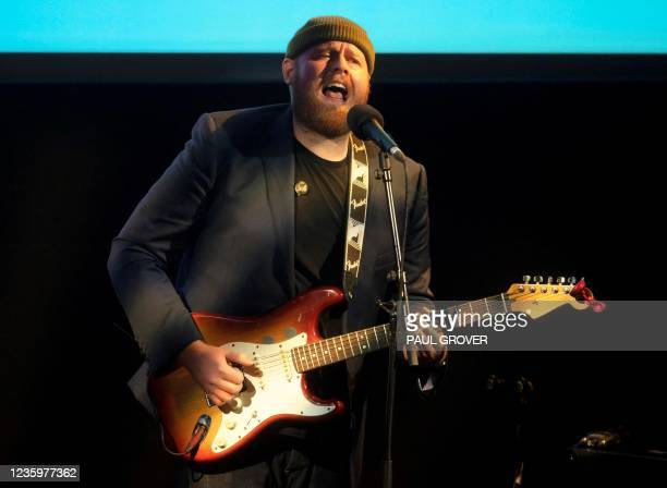 """Scottish singer Tom Walker performs during the launch of the Forward Trust charity's """"Taking Action on Addiction"""" campaign in central London on..."""