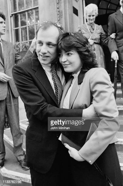 Scottish singersongwriter guitarist record producer and film score composer Mark Knopfler and Lourdes Salomone on their wedding day UK 10th November...