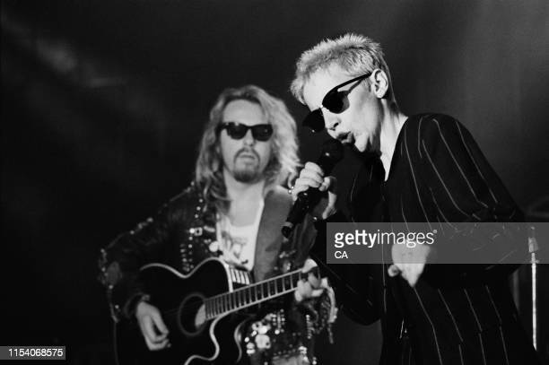 Scottish singersongwriter political activist and philanthropist Annie Lennox and Dave Stewart of the Eurythmics perform on stage at the Montreux Rock...