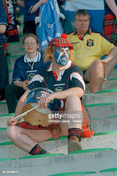 A Scottish soccer fan watching the 1998 soccer World Cup match against Morocco | Location StEtienne France
