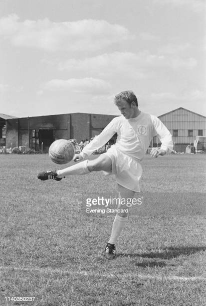 Scottish soccer player Billy Bremner of Leeds United FC dribbling during training UK 29th July 1969