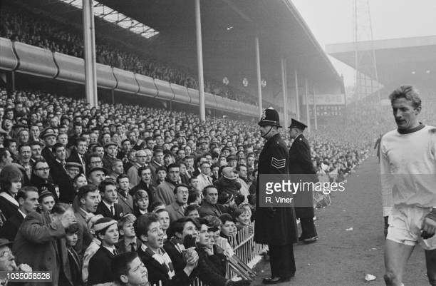 Scottish soccer player Denis Law of Manchester United FC being sent off the field during a match against Aston Villa FC Villa Park Stadium Birmingham...