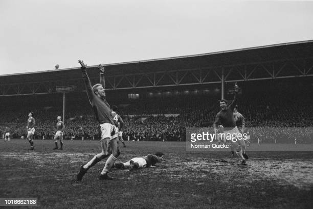 Scottish soccer player Denis Law scores for Manchester United FC against Nottingham Forest FC UK 16th January 1965