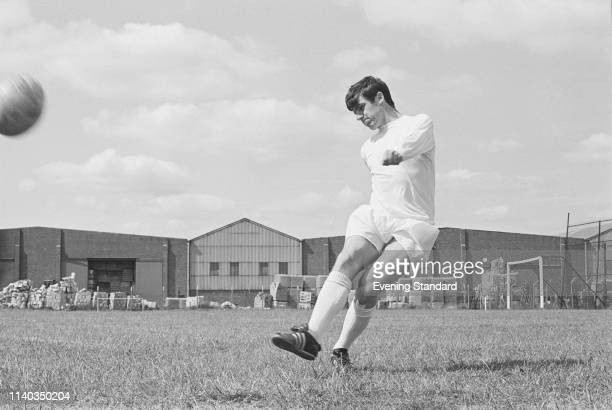 Scottish soccer player Peter Lorimer of Leeds United FC dribbling during training UK 29th July 1969