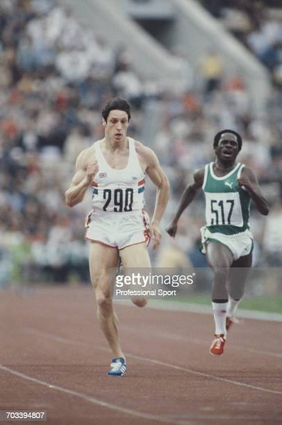 Scottish sprint athlete Allan Wells of the Great Britain team competes in the heats of the Men's 100 metres event at the 1980 Summer Olympics inside...