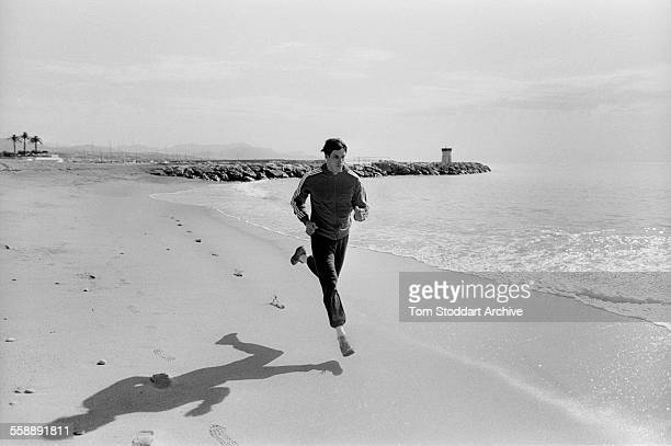 Scottish sprinter Alan Wells training on a beach in Nice France April 1980 before leaving to compete at the 1980 Moscow Olympic Games where he won...