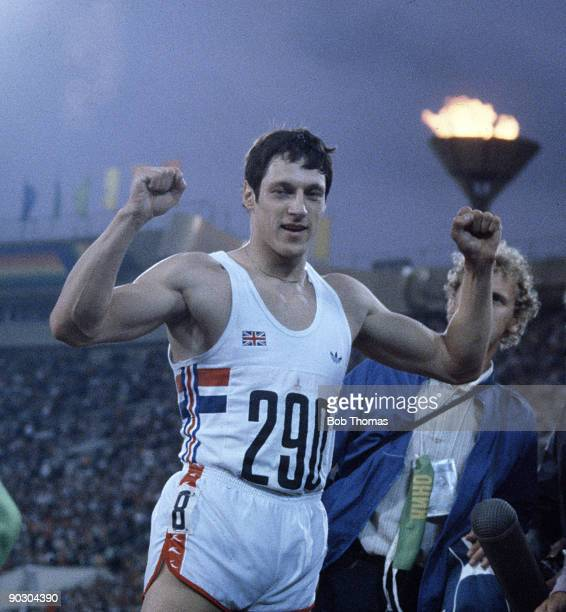 Scottish sprinter Allan Wells of Great Britain celebrates after winning the gold medal in the Men's 100 metres event at the 1980 Summer Olympics in...