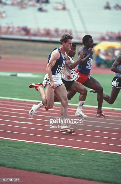 Scottish sprinter Cameron Sharp competing at the Commonwealth Games in Brisbane Australia October 1982 Sharp won bronze medals in the 100m 200m and 4...
