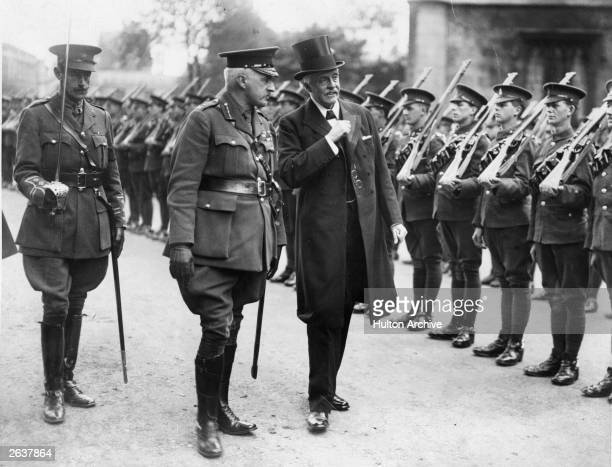 Scottish statesman Arthur James Balfour inspecting troops at York Cathedral during World War I Balfour inherited his family's East Lothian estate in...