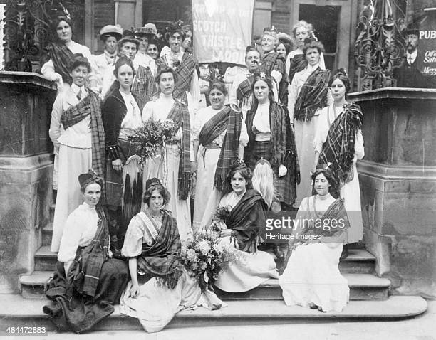 Scottish suffragettes welcoming Mary Phillips on her release from Holloway Gaol 23rd August 1908 Mary Phillips had been sent to prison for...