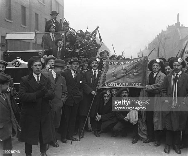 Scottish supporters before an English League V Scottish League match at Highbury, London, March 1921.