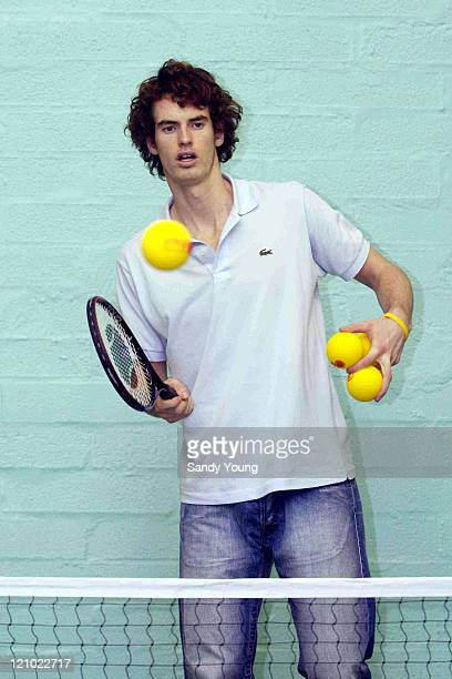 Scottish tennis player Andy Murray giving a coaching lesson to primary school pupils at Middleton Park Primary school in Bridge of Don Aberdeen...