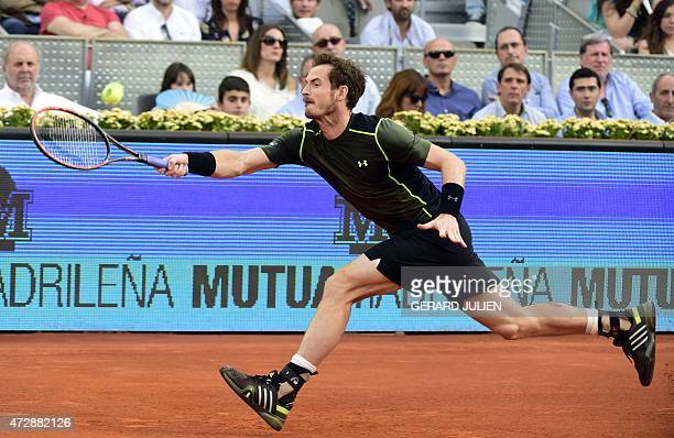 Scottish tennis player Andy Murray returns a ball to Spanish tennis player Rafael Nadal during the men final of Madrid Open tournament at the Caja...