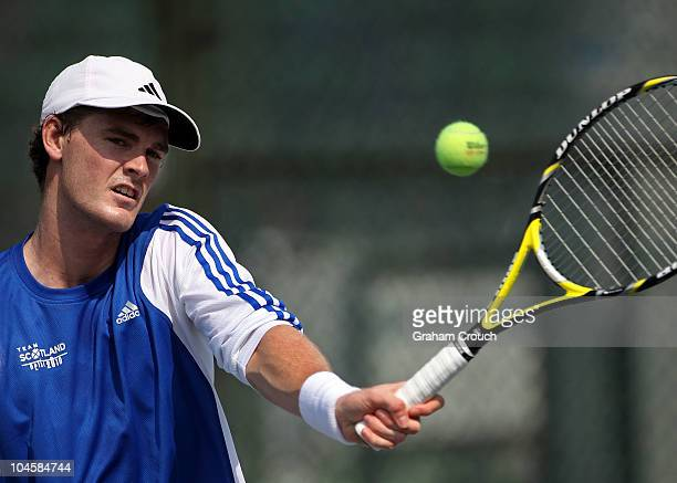 Scottish tennis player Jamie Murray practising at the RKKhanna Tennis Stadium ahead of the Delhi 2010 Commonwealth Games on October 1 2010 in Delhi...