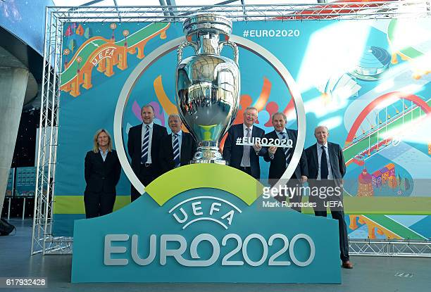 Scottish woman team manager Anna Signeul SFA Chief Executive Stewart Regan Scotland manager Gordon Strachan Sir Alex Ferguson SFA President Alan...