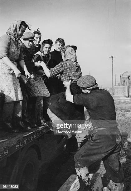 Scottish women in Great Yarmouth Norfolk for the herring season are picked up by a truck on their way to work on the quayside December 1948 Original...