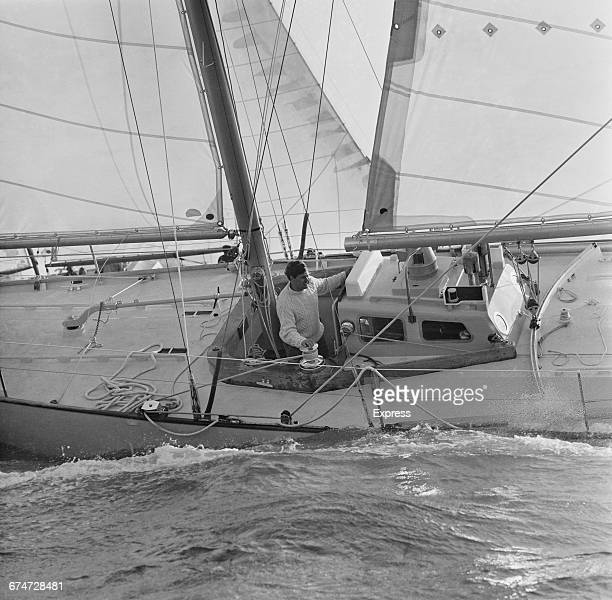 Scottish yachtsman Chay Blyth on his yacht 'British Steel' as he sets out to circumnavigate the globe westwards singlehanded UK 18th October 1970